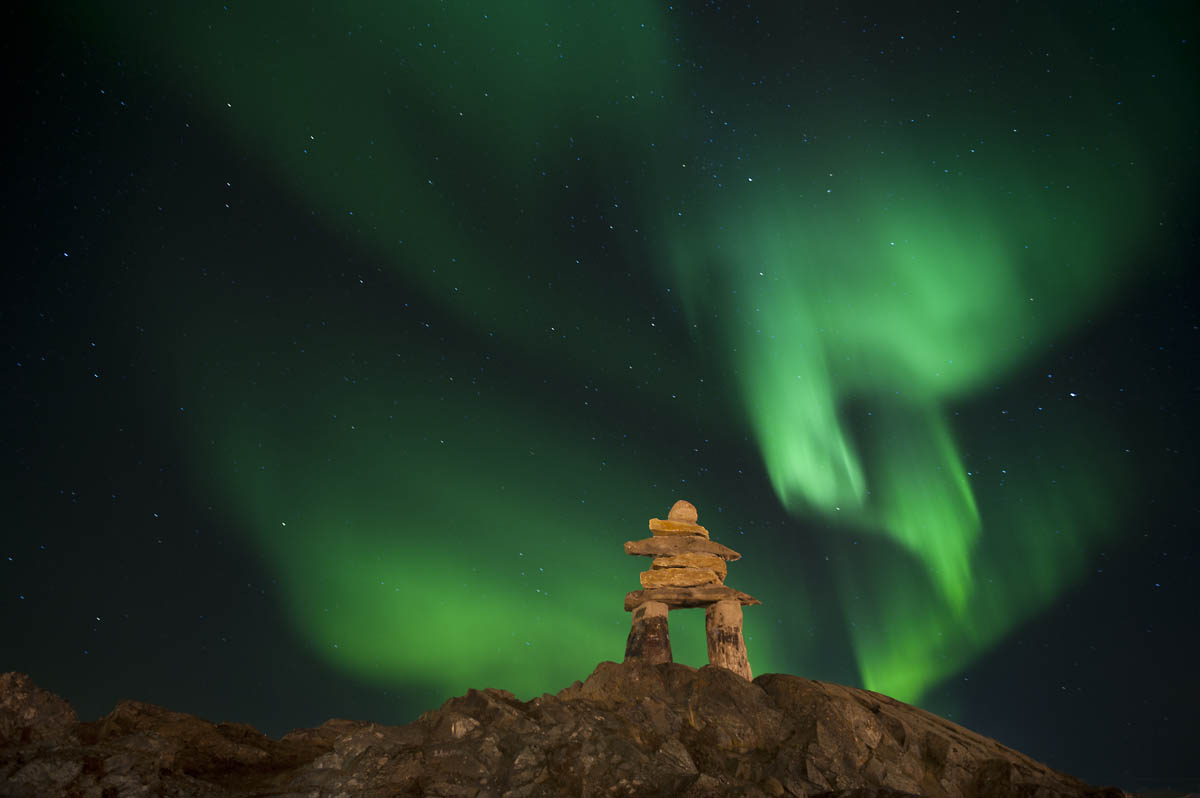 north lights inuksuk