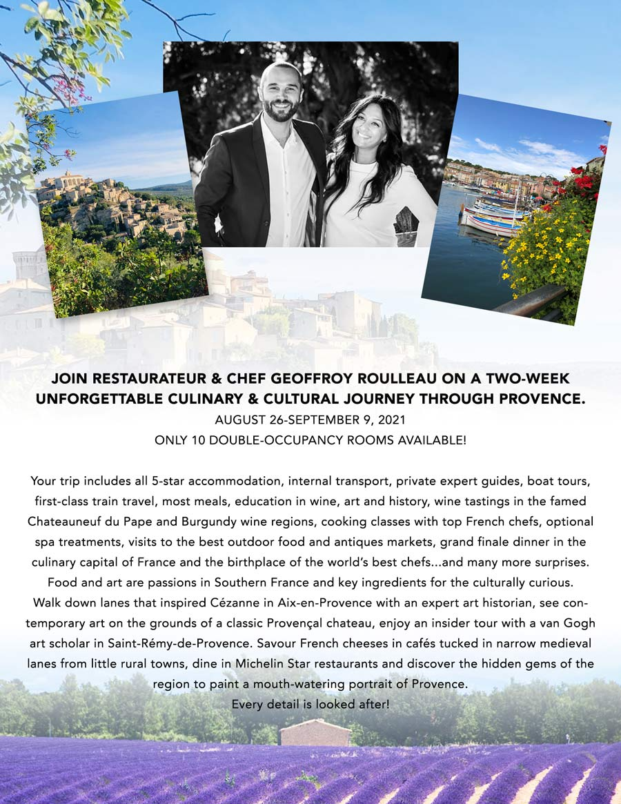 A Two-Week Culinary Journey through Provence - Fall 2021